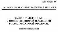 Титульная страница стандарта на телефонные кабели ГОСТ 31943