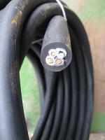 Фотография сечения медного четырёхжильного кабеля КГ 3х10+1х6 для подвижного соединения и стационарной прокладки