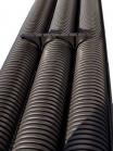 Изображение жёсткой усиленной гофрированной трубы с двумя стенками из полиэтилена диаметром 110 мм изготовления ДКС